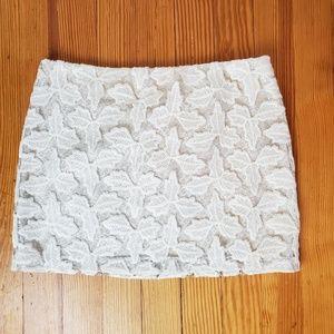 Alice + Olivia Off-White Lace Mini Skirt Bridal